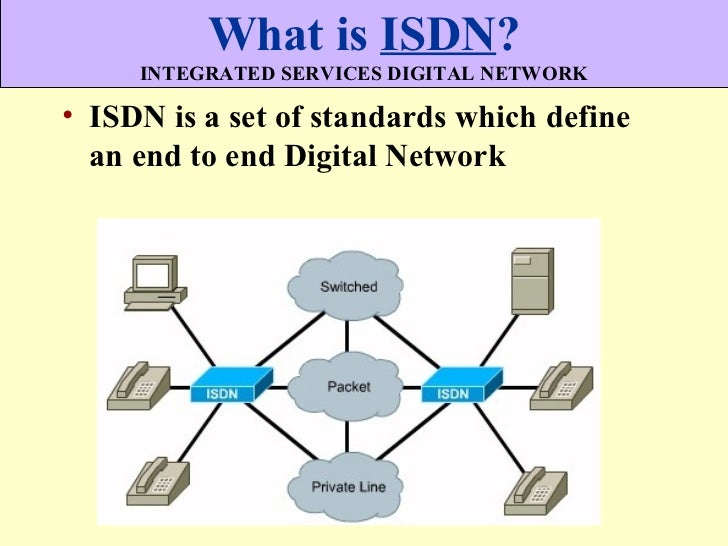 What is ISDN?     INTEGRATED SERVICES DIGITAL NETWORK• ISDN is a set of standards which define  an end to end Digital Netw...