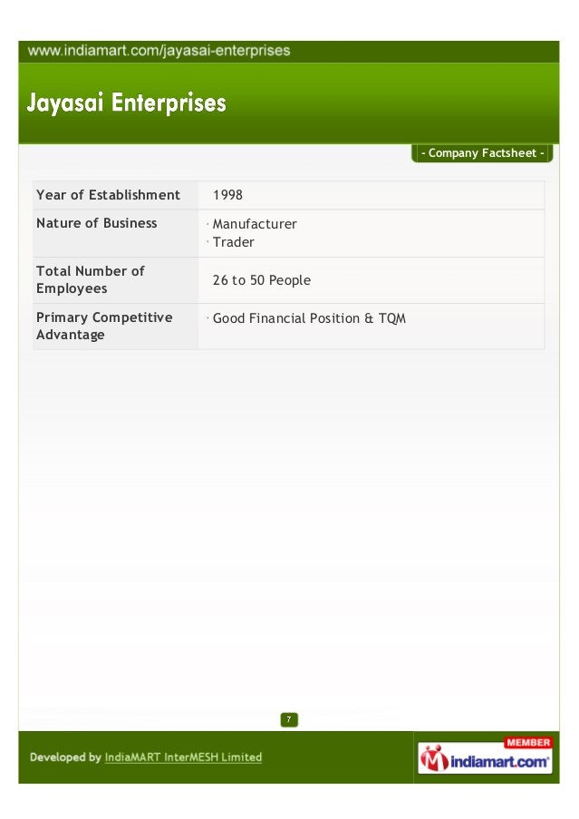 - Company Factsheet -Year of Establishment 1998Nature of Business ManufacturerTraderTotal Number ofEmployees26 to 50 Peopl...