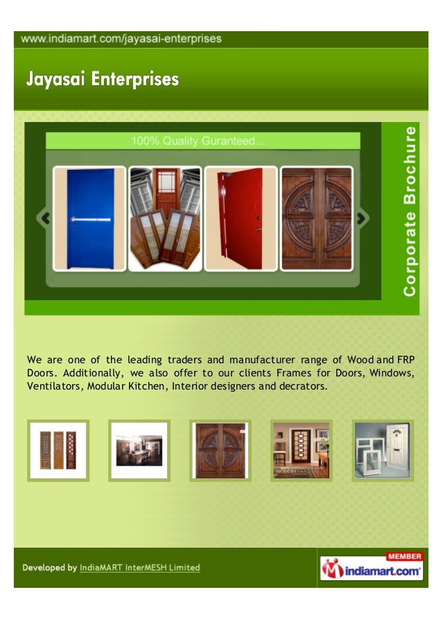 We are one of the leading traders and manufacturer range of Wood and FRPDoors. Additionally, we also offer to our clients ...