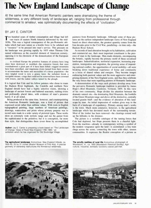 Jay Cantor, New England Landscape of Change, Art in America 1976