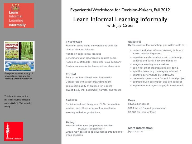 Experiential Workshops for Decision-Makers, Fall 2012                                    Learn Informal Learning Informall...