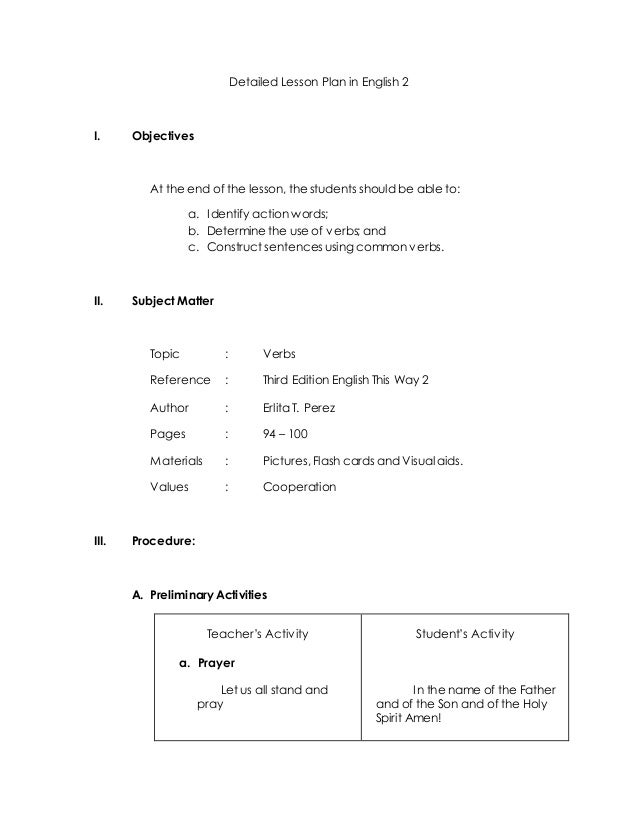Detailed Lesson Plan in English 2 - (VERBS)