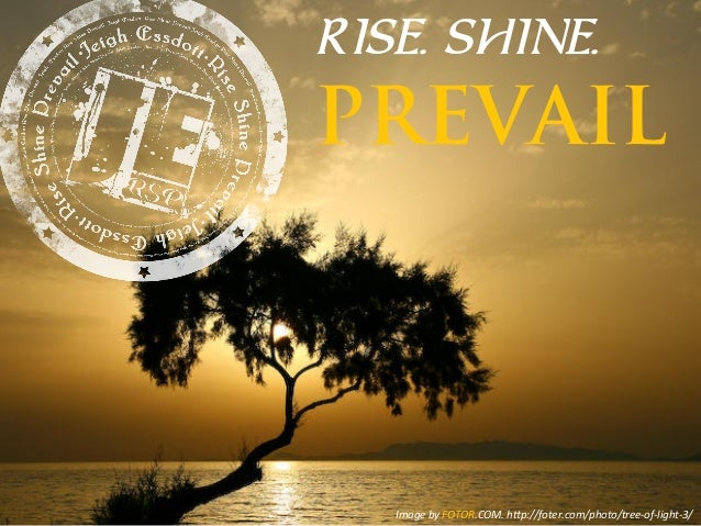 RISE. SHINE. PREVAIL Image  by  FOTOR.COM.  h1p://foter.com/photo/tree-‐of-‐light-‐3/