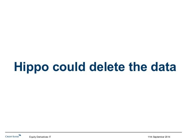Hippo could delete the data  11th September 2014  Equity Derivatives IT