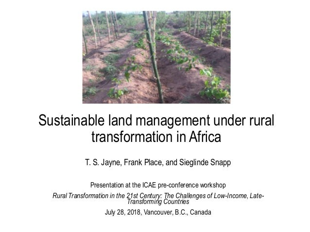 Sustainable land management under rural transformation in Africa T. S. Jayne, Frank Place, and Sieglinde Snapp Presentatio...