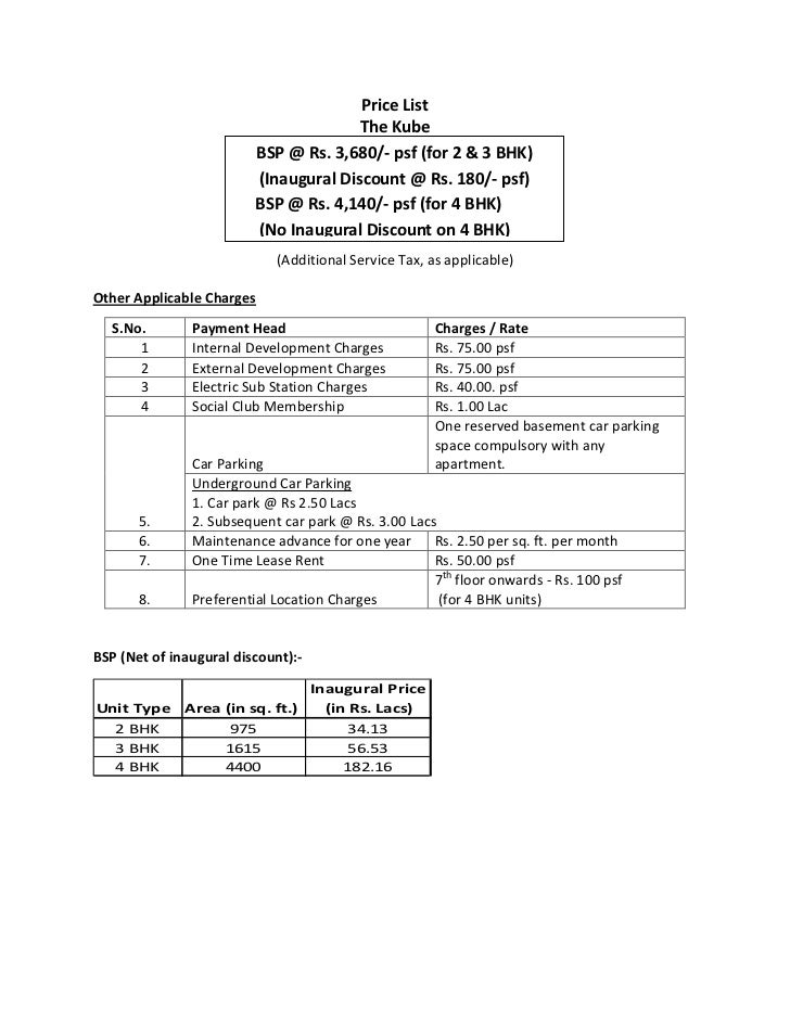 Price List                                       The Kube                         BSP @ Rs. 3,680/- psf (for 2 & 3 BHK)   ...
