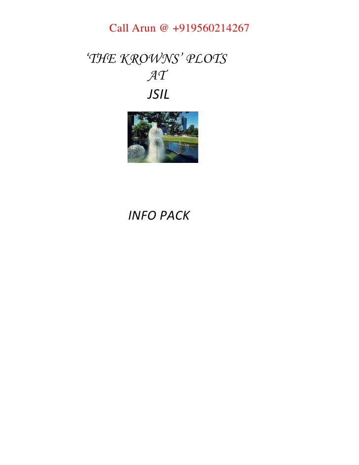 'THE KROWNS' PLOTS <br />AT <br />JSIL<br /> INFO PACK<br />PRODUCT BRIEF <br />Location: <br />Jaypee Sports Internation...
