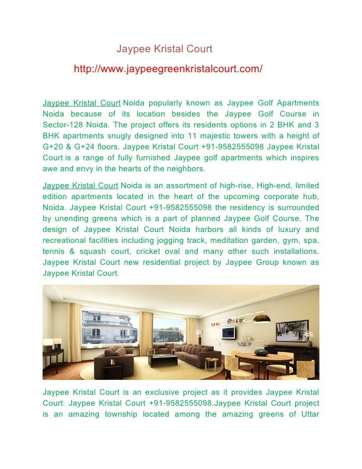 Jaypee Kristal Court        http://www.jaypeegreenkristalcourt.com/Jaypee Kristal Court Noida popularly known as Jaypee Go...