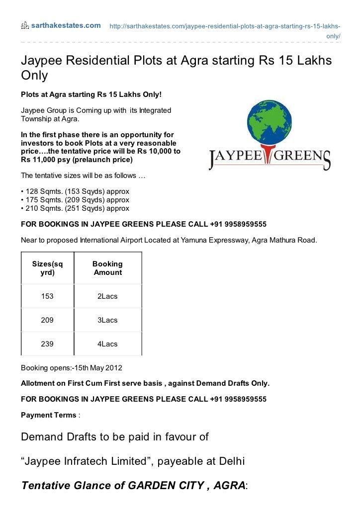 sarthakestates.com       http://sarthakestates.com/jaypee-residential-plots-at-agra-starting-rs-15-lakhs-                 ...