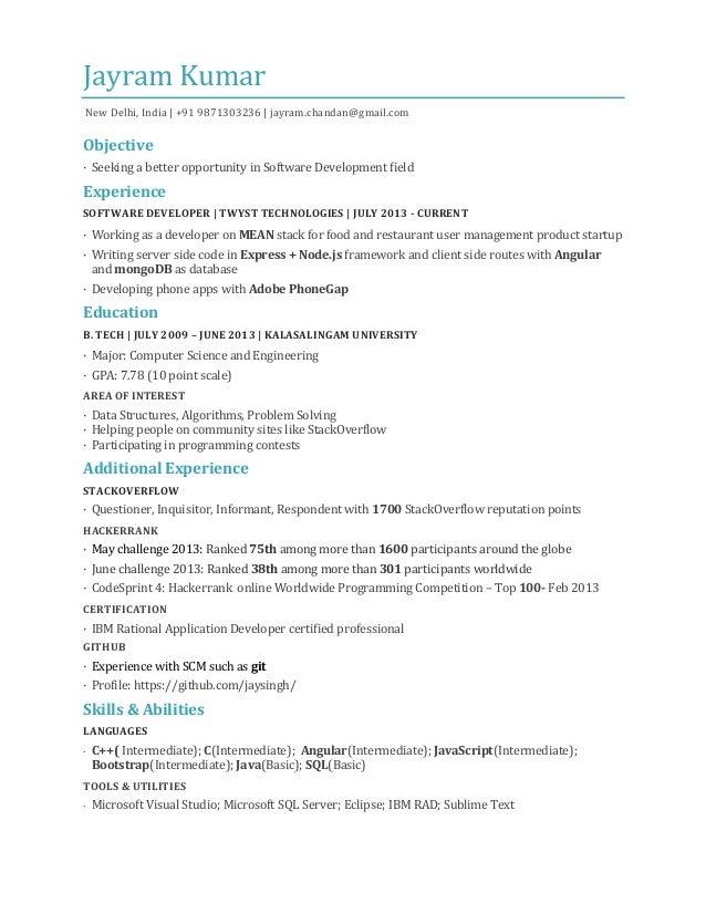 J  ayramKumar New Delhi, India | +91 9871303236 | jayram.chandan@gmail.com  Objective · Seeking a better opportunity in ...