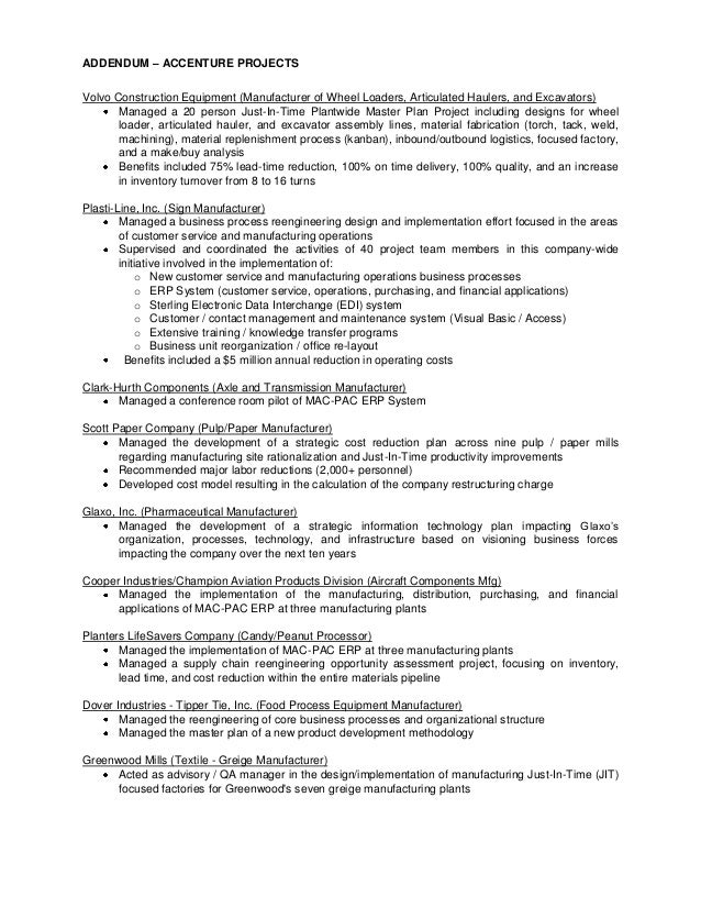 manufacturer resume example