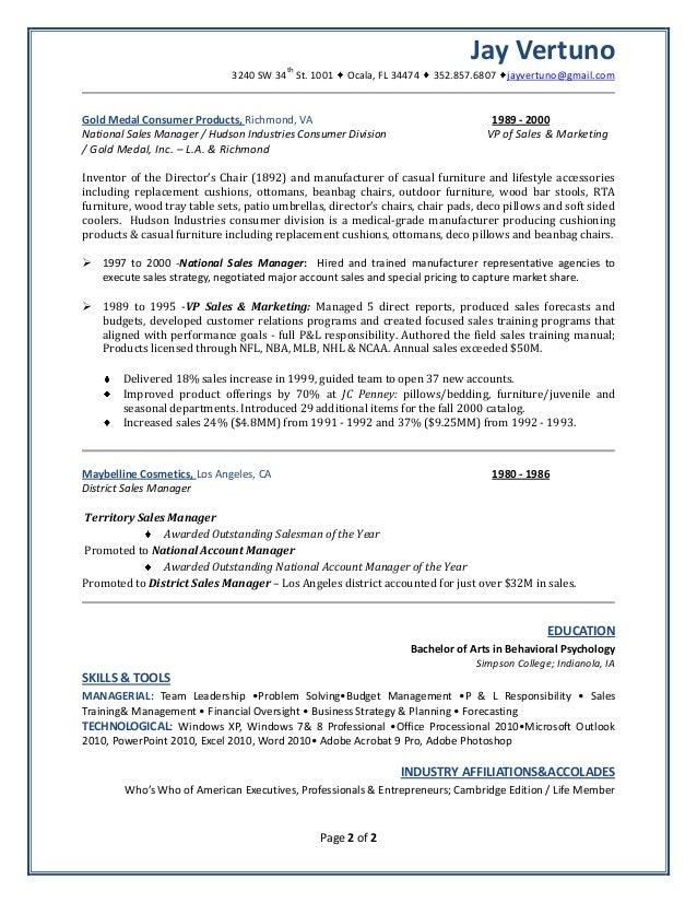Vp Of Sales Resume   Jay Vertuno Resume