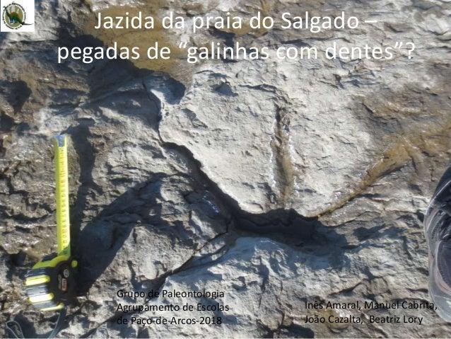 """Jazida da praia do Salgado – pegadas de """"galinhas com dentes""""? Inês Amaral, Manuel Cabrita, João Cazalta, Beatriz Lory Gru..."""