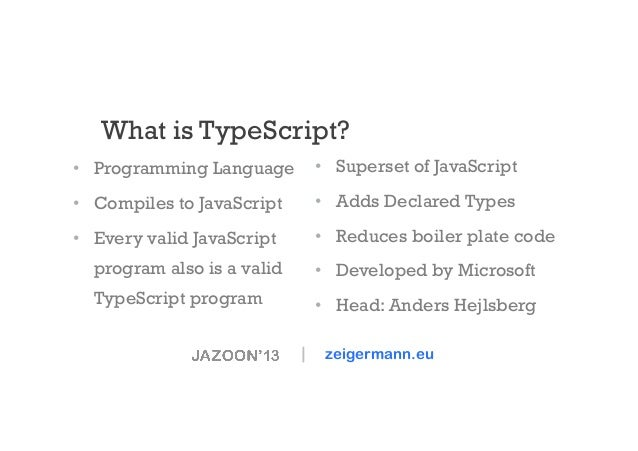 What is TypeScript? • Programming Language  • Superset of JavaScript  • Compiles to JavaScript  • Adds Declared Types ...