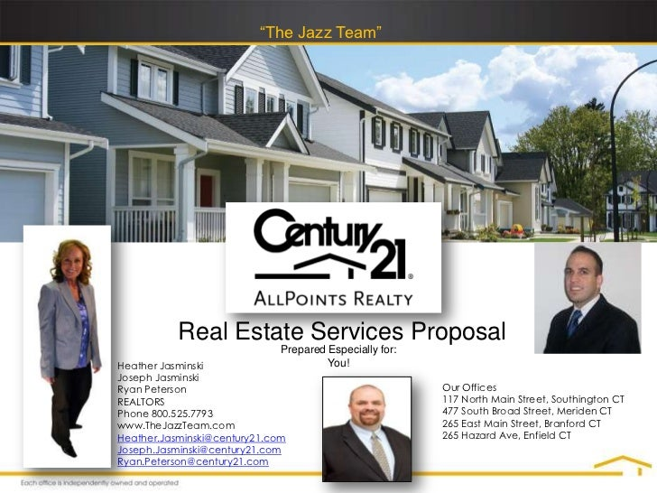 """""""The Jazz Team""""           Real Estate Services Proposal                              Prepared Especially for:Heather Jasmi..."""