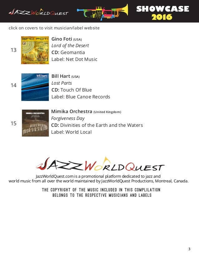 13 14 15 click on covers to visit musician/label website Gino Foti (USA) Lord of the Desert CD: Geomantia Label: Net Dot M...