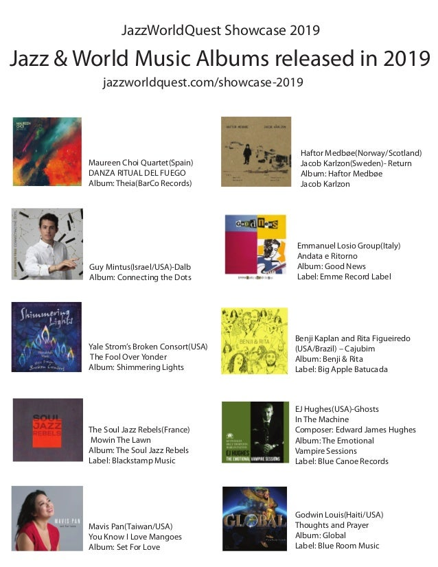 Jazz & World Music Albums released in 2019 jazzworldquest.com/showcase-2019 JazzWorldQuest Showcase 2019 Maureen Choi Quar...