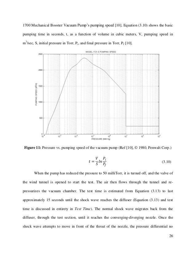 26 1700 Mechanical Booster Vacuum Pump's pumping speed [10]. Equation (3.10) shows the basic pumping time in seconds, t, a...