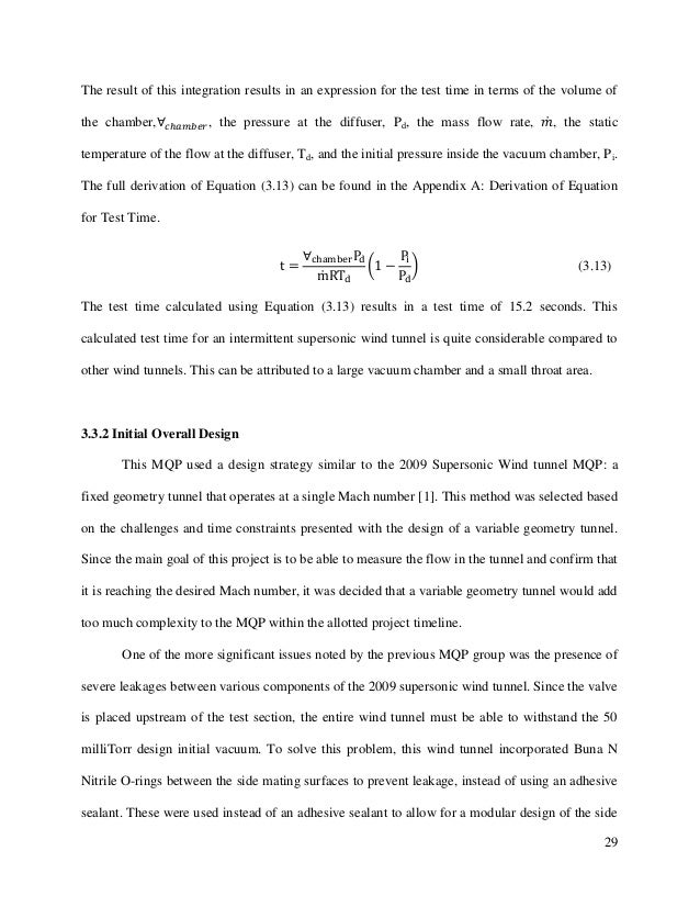 29 The result of this integration results in an expression for the test time in terms of the volume of the chamber, , the ...