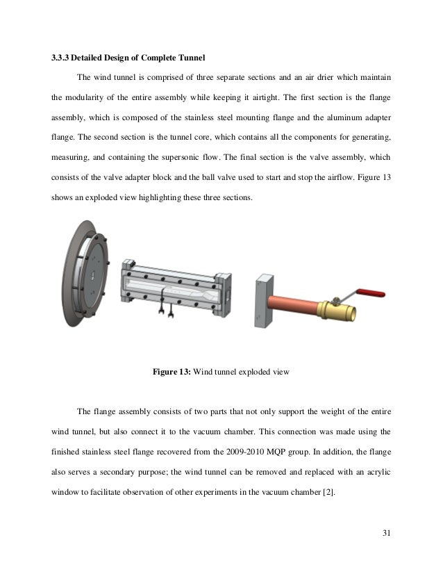 31 3.3.3 Detailed Design of Complete Tunnel The wind tunnel is comprised of three separate sections and an air drier which...