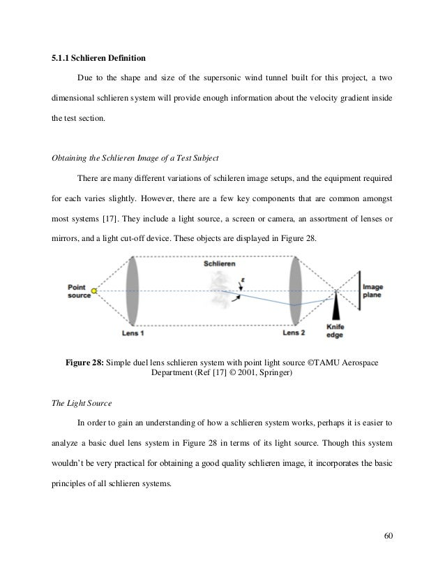 60 5.1.1 Schlieren Definition Due to the shape and size of the supersonic wind tunnel built for this project, a two dimens...