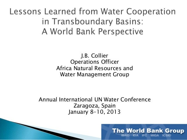 J.B. Collier            Operations Officer      Africa Natural Resources and       Water Management GroupAnnual Internatio...