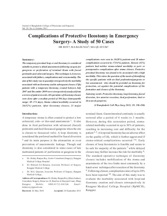 Journal of Bangladesh College of Physicians and Surgeons Vol. 29, No. 4, October 2011  Complications of Protective Ileosto...