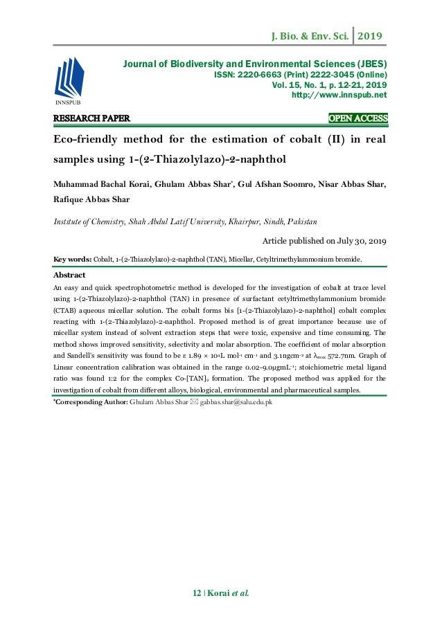 J. Bio. & Env. Sci. 2019 12 | Korai et al. RESEARCH PAPER OPEN ACCESS Eco-friendly method for the estimation of cobalt (II...