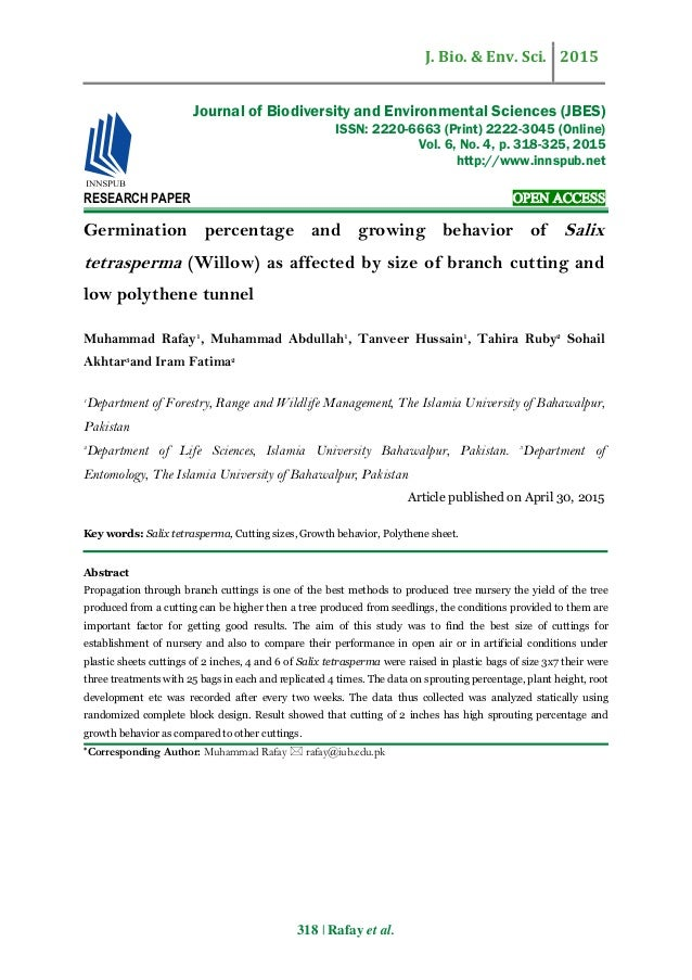 germination research paper Control of seed germination (wim soppe) our main research goal is to understand these germination quality traits at the molecular level.