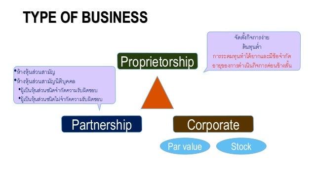 TYPE OF BUSINESS Proprietorship Partnership Corporate จัดตั้งกิจการง่าย ต้นทุนต่า การระดมทุนทาได้ยากและมีข้อจจากัด อจายุขอ...