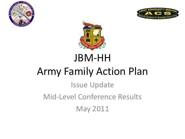 JBM-HH Army Family Action Plan<br />Issue Update<br />Mid-Level Conference Results<br />May 2011<br />