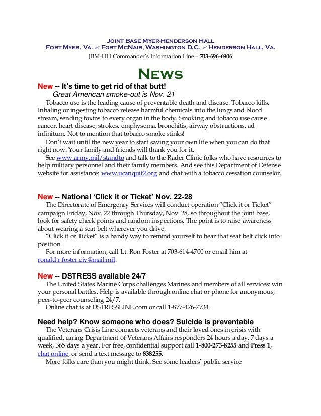 Joint Base Myer-Henderson Hall Fort Myer, Va.  Fort McNair, Washington D.C.  Henderson Hall, Va. JBM-HH Commander's Info...