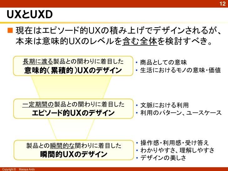 12   UXとUXD    現在はエピソード的UXの積み上げでデザインされるが、     本来は意味的UXのレベルを含む全体を検討すべき。                長期に渡る製品との関わりに着目した        • 商品としての意味...