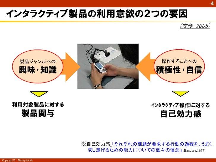 4   インタラクティブ製品の利用意欲の2つの要因                                                        (安藤, 2008)               製品ジャンルへの        ...