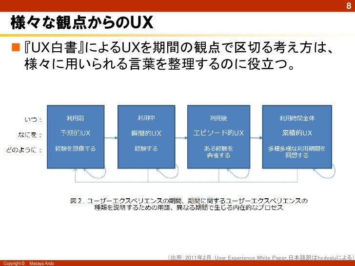 8   様々な観点からのUX    『UX白書』によるUXを期間の観点で区切る考え方は、     様々に用いられる言葉を整理するのに役立つ。                            (出所:2011年2月:User Experi...