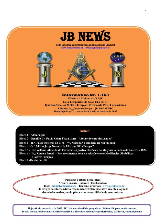 1 JB NEWSRede Catarinense de Comunicação da Maçonaria Universal  www.radiosintonia33 – jbnews floripa ... 316d1c73b6770