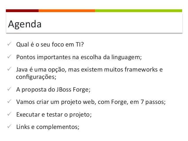 Agenda   ü Qual  é  o  seu  foco  em  TI?   ü Pontos  importantes  na  escolha  da  linguage...