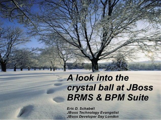 A look into the crystal ball at JBoss BRMS & BPM Suite 1  Eric D. Schabell JBoss Technology Evangelist JBoss Developer Day...