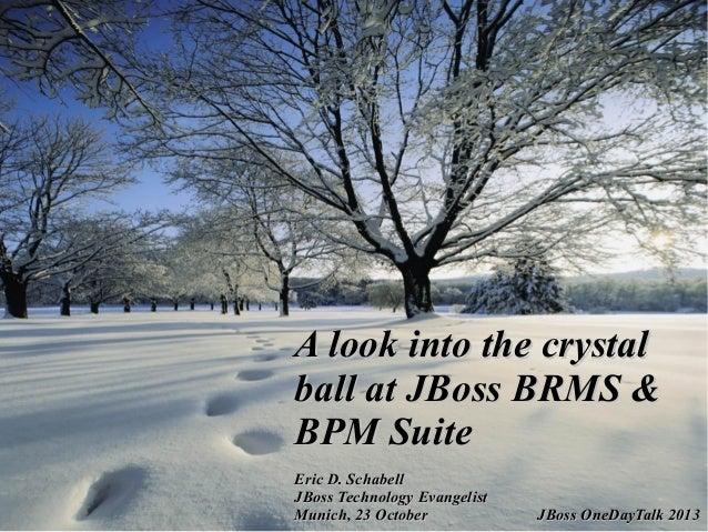 A look into the crystal ball at JBoss BRMS & BPM Suite Eric D. Schabell JBoss Technology Evangelist Munich, 23 October  JB...