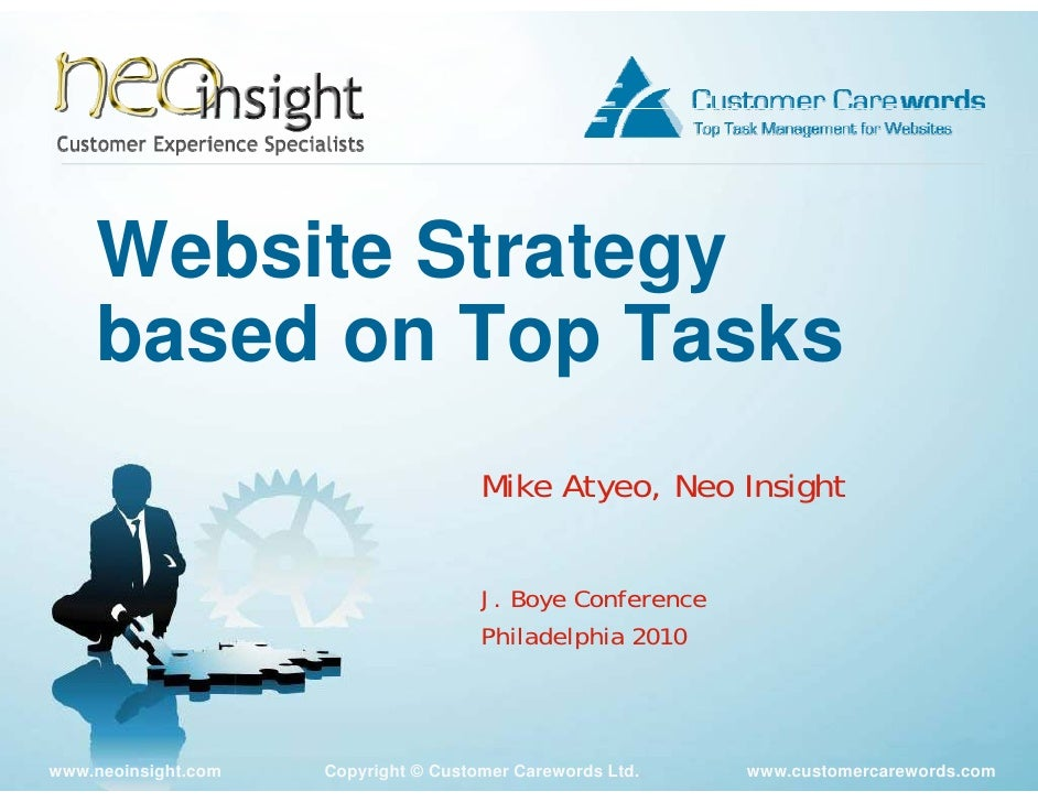 Website Strategy     based on Top Tasks                                       Mike Atyeo, Neo Insight                     ...