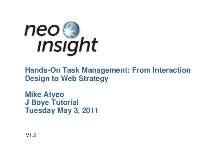 Hands-On Task Management: From Interaction Design to Web StrategyMike AtyeoJ Boye TutorialTuesday May 3, 2011<br />V1.2<br />