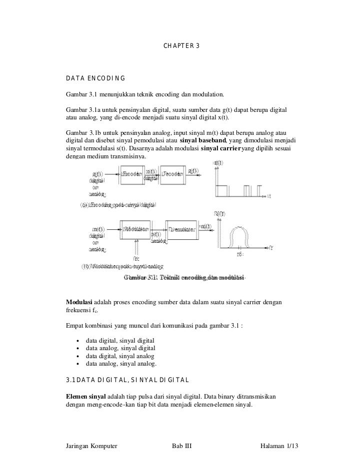 CHAPTER 3DATA ENCODINGGambar 3.1 menunjukkan teknik encoding dan modulation.Gambar 3.1a untuk pensinyalan digital, suatu s...