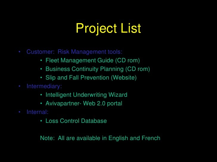 Project List<br />Customer:  Risk Management tools:<br />Fleet Management Guide (CD rom) <br />Business Continuity Plannin...