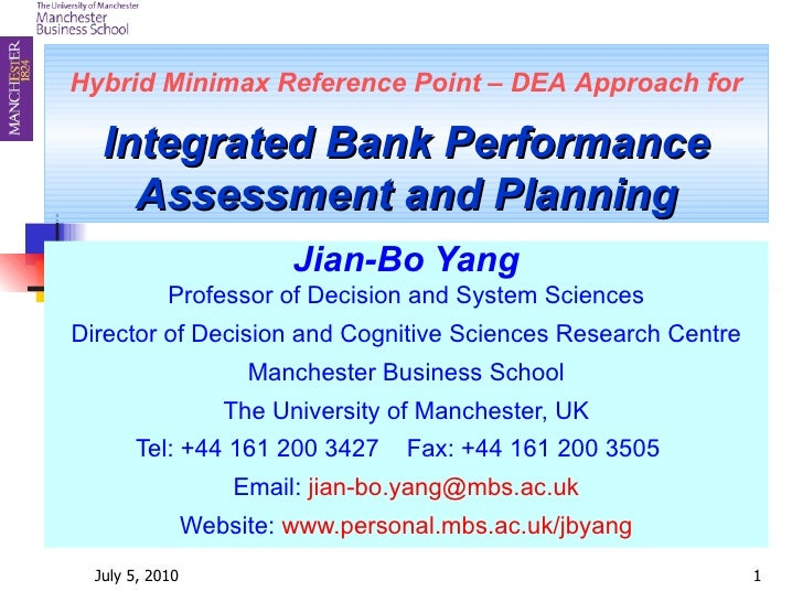 Hybrid Minimax Reference Point – DEA   Approach for Integrated Bank Performance Assessment and Planning Jian-Bo Yang Profe...