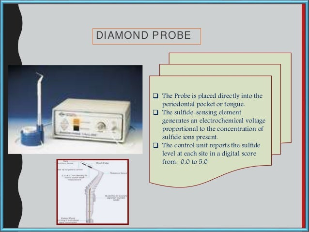 DIAMOND PROBE  The Probe is placed directly into the periodontal pocket or tongue.  The sulfide-sensing element generate...
