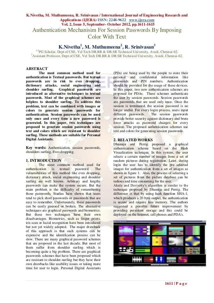 K.Nivetha, M. Muthumeena, R. Srinivasan / International Journal of Engineering Research and                  Applications ...