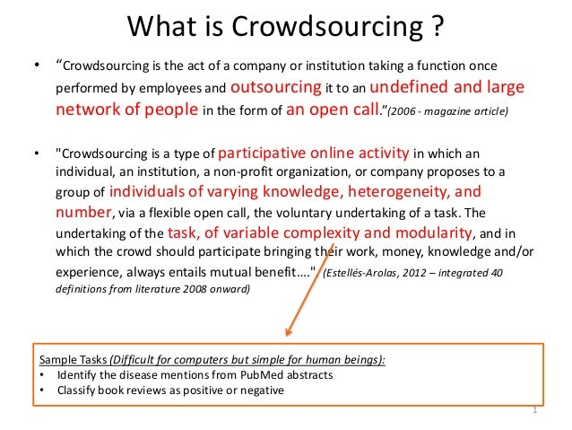 """What is Crowdsourcing ?• """"Crowdsourcing is the act of a company or institution taking a function once    performed by empl..."""