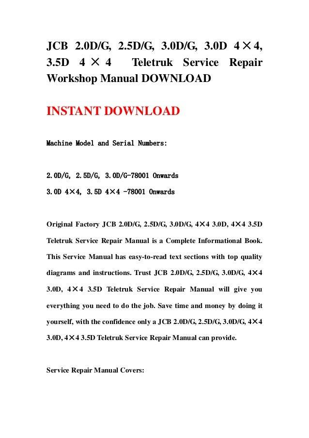 Jcb 2 0 Dg  2 5dg  3 0dg  3 0d 4 U00d74  3 5d 4 U00d74 Teletruk Service Repair U2026