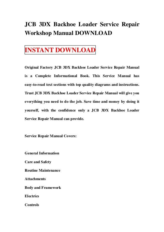 Jcb 3 dx backhoe loader service repair workshop manual download – Jcb Backhoe Wiring Diagram 1994