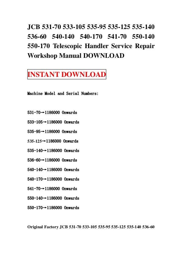 jcb 531 70 533 105 535 95 535 125 535 140 536 60 540 140 540 170 541 rh slideshare net Owner's Manual Instruction Manual